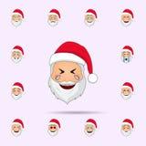 圣诞老人哭泣幸福emoji象 网和机动性的圣诞老人项目Emoji象全集 向量例证