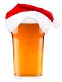 圣诞老人啤酒和帽子  免版税库存照片