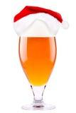 圣诞老人啤酒和帽子  库存图片