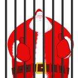 圣诞老人囚犯 在监狱的圣诞节 在监狱的窗口与 库存例证