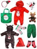 圣诞老人圣诞节在白色隔绝的婴孩事 库存照片