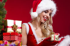 圣诞老人圣诞节女孩照片  库存照片