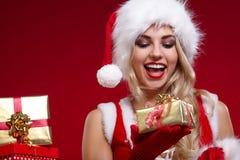 圣诞老人圣诞节女孩照片  免版税图库摄影