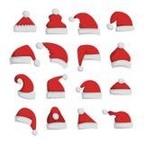圣诞老人圣诞节帽子传染媒介例证 图库摄影