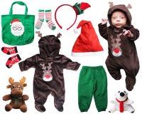 圣诞老人圣诞节的婴孩事 免版税库存照片