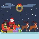 圣诞老人圣诞节矮子驯鹿 库存照片
