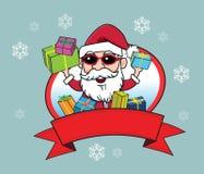 圣诞老人圣诞节礼物雪微笑 库存图片