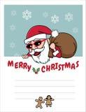 圣诞老人圣诞节纸牌礼物 库存图片