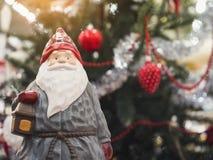 圣诞老人圣诞节装饰品装饰xmas树元素 免版税库存照片