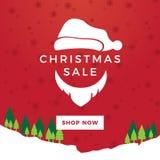 圣诞老人圣诞节销售夜横幅 免版税图库摄影