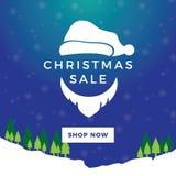 圣诞老人圣诞节销售蓝色横幅 免版税库存图片