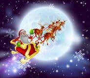 圣诞老人圣诞节雪橇月亮 免版税库存照片