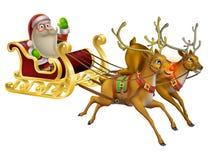 圣诞老人圣诞节雪橇 免版税库存照片