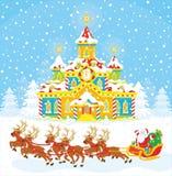 圣诞老人圣诞节雪橇  免版税图库摄影