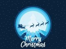 圣诞老人在与驯鹿的一个雪橇飞行在森林圣诞节背景 向量 免版税库存照片