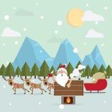 圣诞老人在冬天放松温暖的浴户外 免版税库存照片