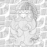 圣诞老人在冬天编织了在zentangle的袜子无缝的样式 免版税库存照片