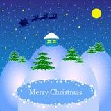 圣诞老人在房子的一个雪撬飞行 免版税库存图片