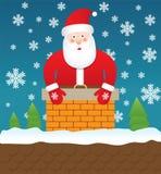 圣诞老人在烟囱,例证停留 免版税库存图片