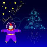 圣诞老人在空间飞行在他的火箭树附近 免版税图库摄影