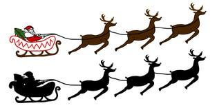 圣诞老人在雪橇飞行 免版税库存照片