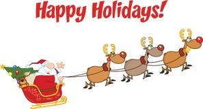 圣诞老人在飞行中有他的驯鹿和雪橇的 免版税库存图片