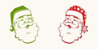圣诞老人头的剪影 图库摄影