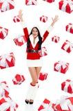 圣诞老人女孩创造性的设计 免版税图库摄影