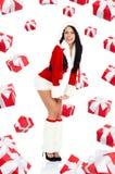 圣诞老人女孩创造性的设计 库存照片
