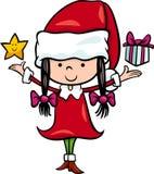 圣诞老人女孩动画片例证 免版税库存图片