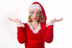 圣诞老人女孩啼声幽默心脏 免版税图库摄影