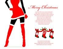 圣诞老人女孩圣诞节背景 库存照片