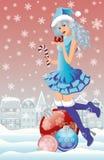圣诞老人女孩在冬天城市 免版税库存图片
