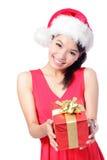 圣诞老人女孩藏品圣诞节礼品 库存照片