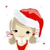 圣诞老人女孩画象,您的设计的剪影 免版税库存照片