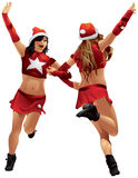圣诞老人女孩iChristmas舞蹈 库存照片