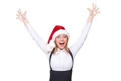 圣诞老人女实业家呼喊喜悦 库存照片
