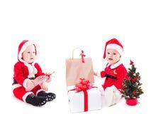 圣诞老人女婴 免版税库存图片
