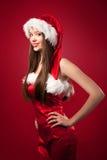 圣诞老人妇女画象  免版税图库摄影