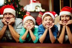 圣诞老人家庭 免版税图库摄影