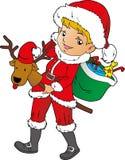 圣诞老人小女孩 皇族释放例证