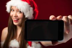 圣诞老人小姐的陈列您消息! 库存照片