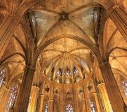 圣诞老人尤拉莉亚大教堂在巴塞罗那,西班牙 免版税库存照片