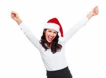 圣诞老人帮手圣诞节女商人。 免版税库存照片