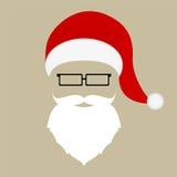 圣诞老人帽子、髭和玻璃 库存照片