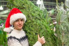 圣诞老人帽子买的圣诞树的年轻父亲 免版税库存图片