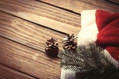 圣诞老人帽子和分支 图库摄影