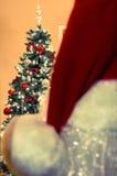 圣诞老人帽子和圣诞树 免版税图库摄影