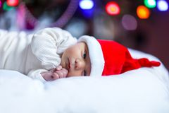 圣诞老人帽子的一个星期的新出生的婴孩在圣诞树附近 图库摄影