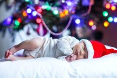 圣诞老人帽子的一个星期的新出生的婴孩在圣诞树附近 库存照片